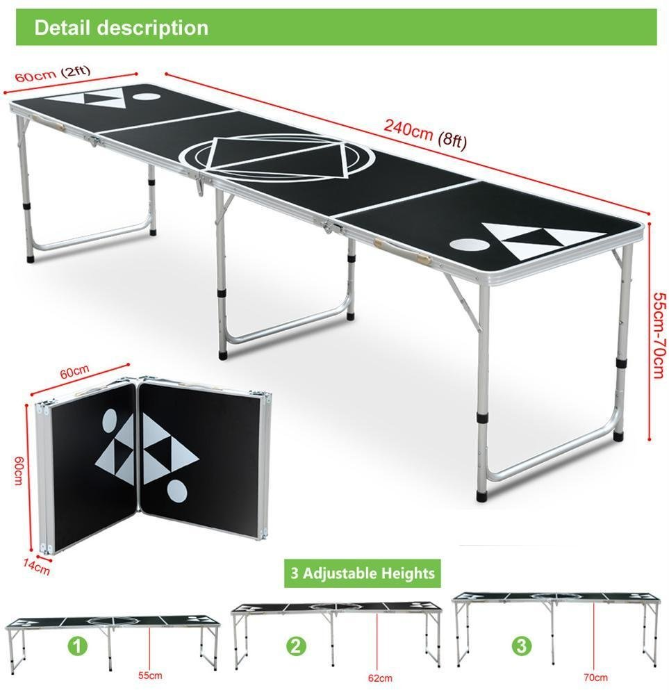 Yaheetech Beer Pong Table 8 Portable Folding Outdoor