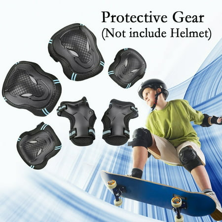 CoastaCloud Kid's Childrens Adults Teens 6PCS Wrist Elbow Knee Pads Safety Skateboard Gear Guard Inline Skating Roller Cycling Blading for Bicycle, Skateboard, Scooter - Roller Skating Decorations