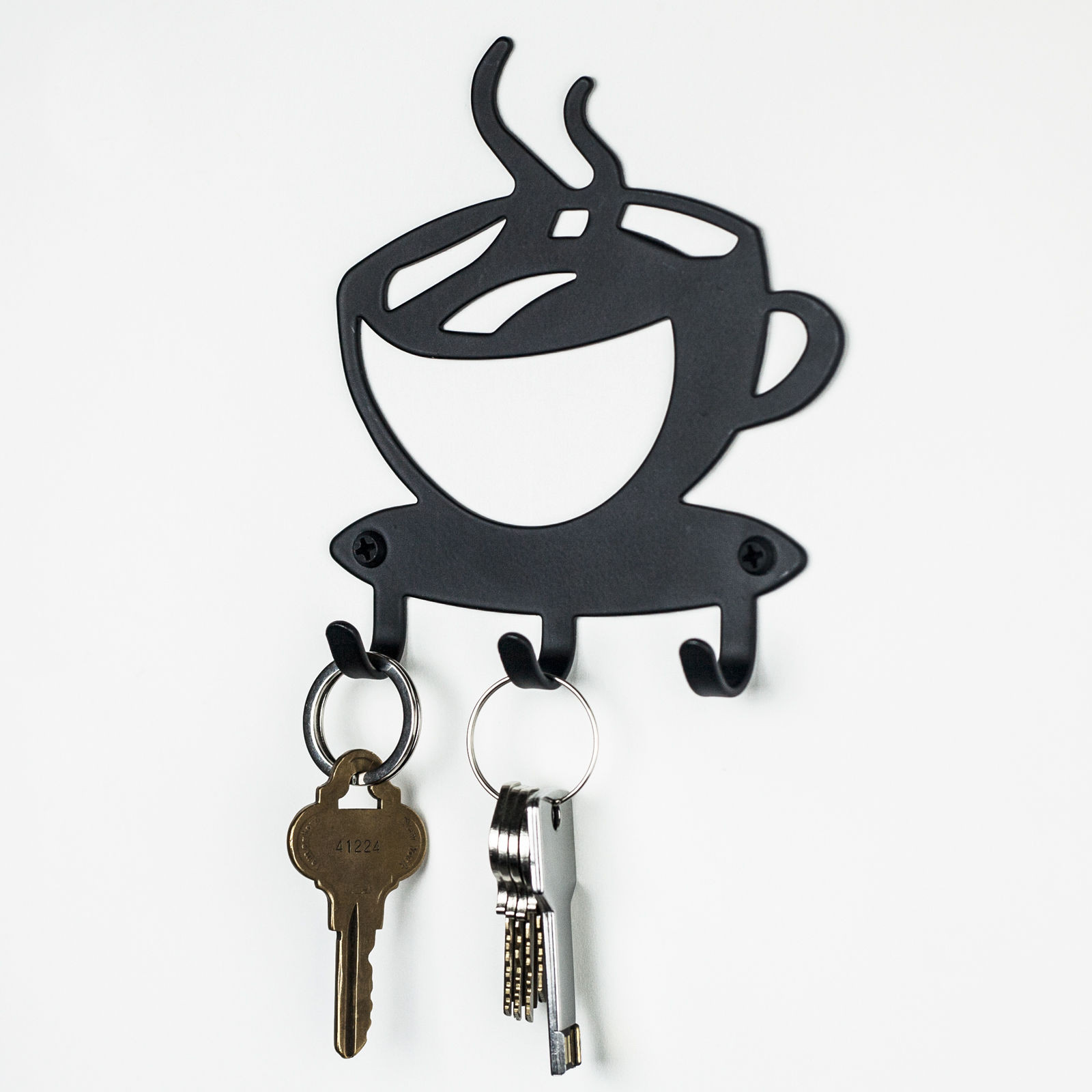 Coffee Wall Mount 4 Key Hanger Hook Rack Holder Organizer Home Office Decor