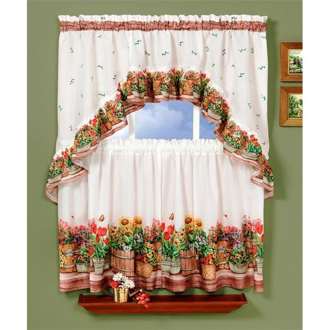 Country Garden Printed Tier and Swag Set - 57x24 Tier Pair/57x30 Swag - Multi - image 1 of 1