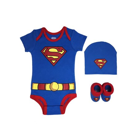 Newborn Gift Set Case - Superman Short Sleeve Bodysuit, Booties & Cap, 3-piece Layette Gift Set (Newborn Baby Boys)