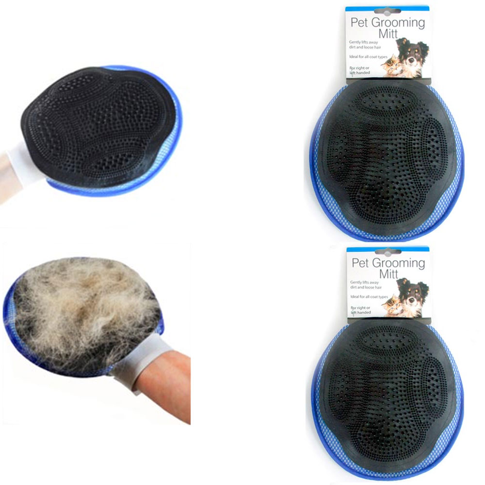 2 Grooming Mitts Cat Dog Rabbit Massage Pet Bath Hair Fur Glove Brush Comb Scrub