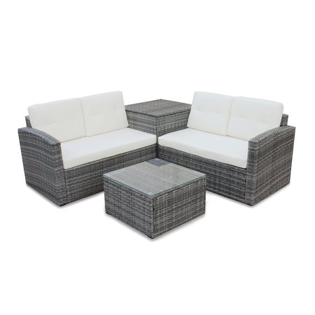 4 Pieces Outdoor Sectional Sofa All-Weather Patio Furniture Sets Manual Weaving Wicker Rattan Patio Conversation Sets with Cushion and Glass Table