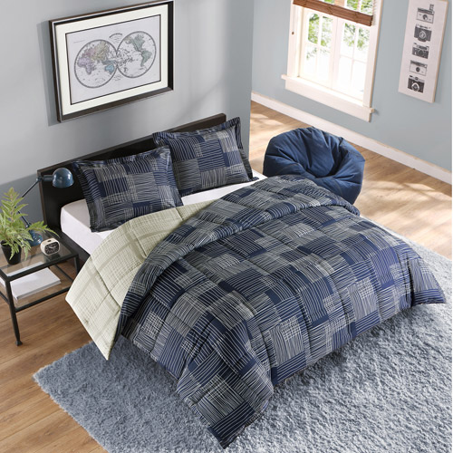Style Lab Hatchmark Reversible Bedding Comforter Set with 3M Stain Release Treatment