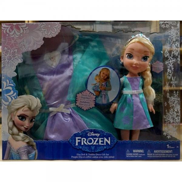 Disney Frozen Elsa Doll & Toddler Dress Gift Set