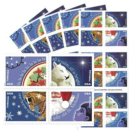 Usps Christmas Stamps.Christmas Carols 5 Books Of 20 Usps First Class Postage Stamps Holiday Celebration Gifts Tradition Song 50 Stamps