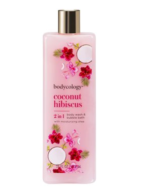 Bodycology Coconut Hibiscus 2 in 1 Moisturizing Body Wash and Bubble Bath, 16 fl oz