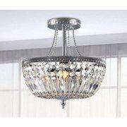 The Lighting Store Jessica Crystal Basket Semi-flush Mount Chrome 3-light Chandelier