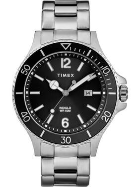 Men's Harborside Silver-Tone/Black Watch, Stainless Steel Bracelet