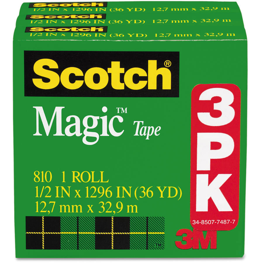 "Scotch Magic Tape Refill, 1/2"" x 1296"", 3/Pack"