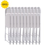 Jaxpety Set of 10 Commercial Wedding Quality Stackable Plastic Folding Chairs White by Jaxpety