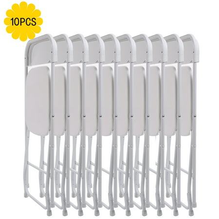Jaxpety Set of 10 Commercial Wedding Quality Stackable Plastic Folding Chairs White