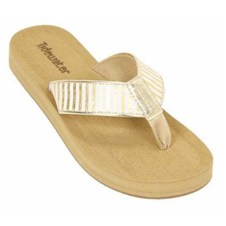 Tidewater Womens Onslow Wedge Thong Sandal  Gold Size 8