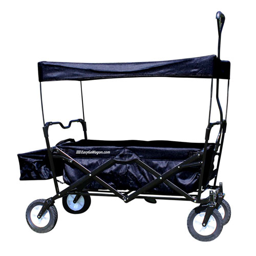 EasyGo Wagon Folding Collapsible Utility Wagon with Removable Canopy - Black