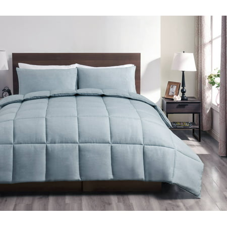 Super Collection 3pc Reversible Down Alternative Comforter set Stone Blue Color | Full/Queen Size Bed Cover - Halloween Comforter