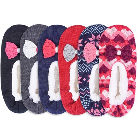 DailyWear Womens Winter Soft Premium Thermal Christmas Cozy Socks Slippers 6 - Pack (Non-skid, S/M)
