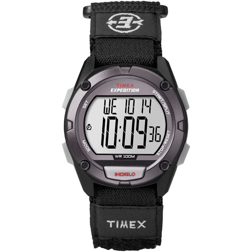 Timex Men's Expedition Digital CAT Full-Size Watch, Black Fast Wrap Velcro Strap