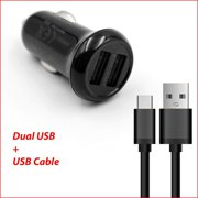 Dual Ports USB Car Charger Adapter + USB Charging/Data Cable For Amazon Kindle Fire HDX 7'/8.9'/HD 10 10.1' Tablet