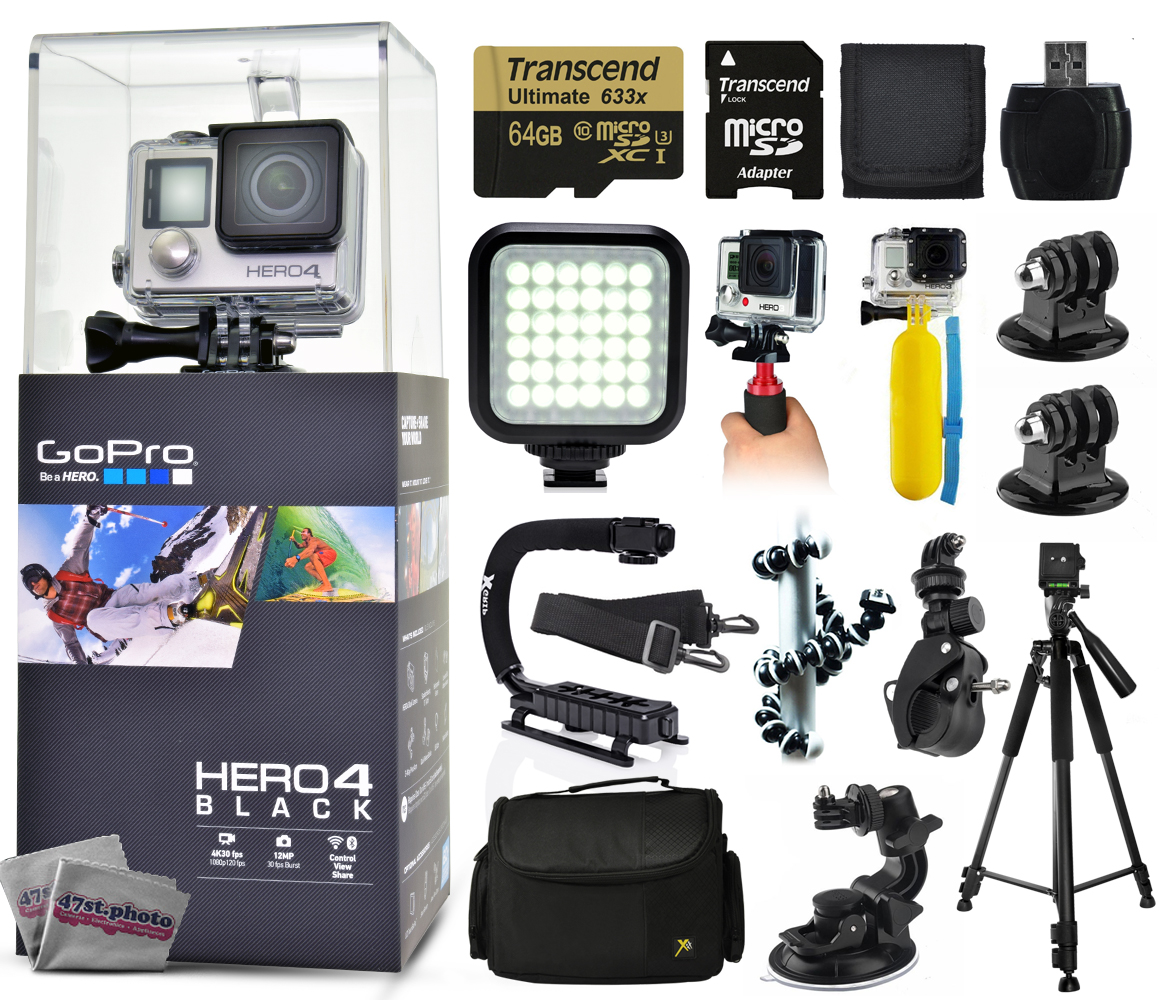 Buy GoPro Hero 4 HERO4 Black CHDHX-401 with 64GB Ultra Memory + LED Night Light + Handgrip + Floaty Bobber + Action Handle +... by GoPro