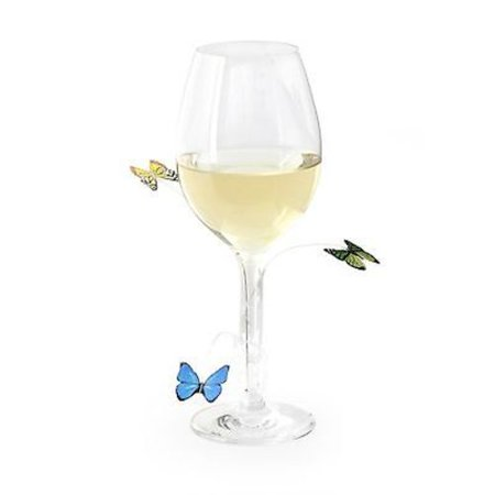 Kikkerland Butterfly Wine Glass & Drink Markers / Charms - Set of (Holiday Wine Charms)