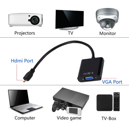 1080P Micro HDMI to VGA Female Video Cable Converter Adapter for PC Laptop - image 5 of 8