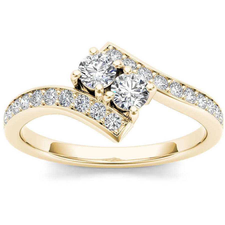 Imperial 1 Carat T.W. Diamond 14kt Yellow Gold Two-Stone Bypass Band
