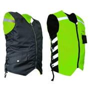Mens Military Duty Reversible Safety Vest - Green - Medium MDVG