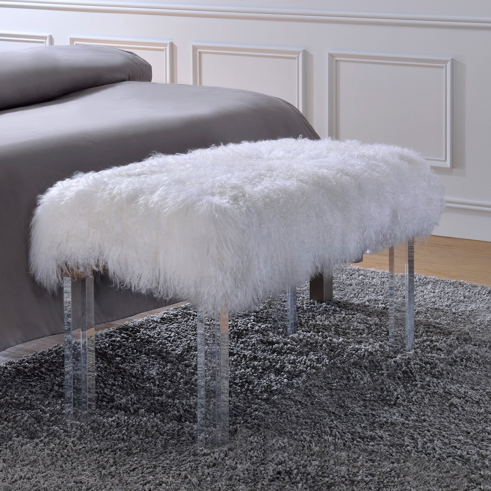ACME Bagley Bench, Wool & Clear Acrylic