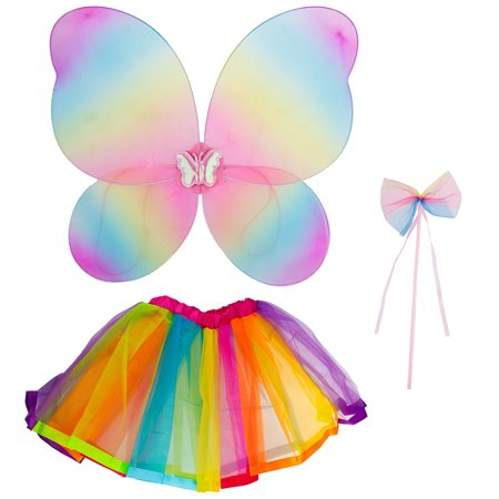 Lux Accessories Rainbow Fairy MIni Skirt Butterfly Wing Ribbon Bow Costume Set](Making Fairy Wings For Kids)
