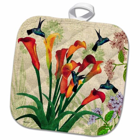 3dRose Humble Hummingbirds - Pot Holder, 8 by 8-inch - Pot Holders Diy