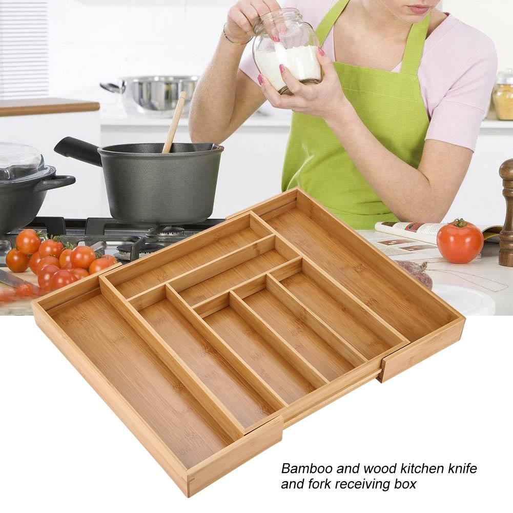 Tbest Expandable Bamboo Cutlery Storage Tidy Drawer Kitchen Organizer Compartment with Knife and Fork,Cutlery Storage, Cutlery Organizer