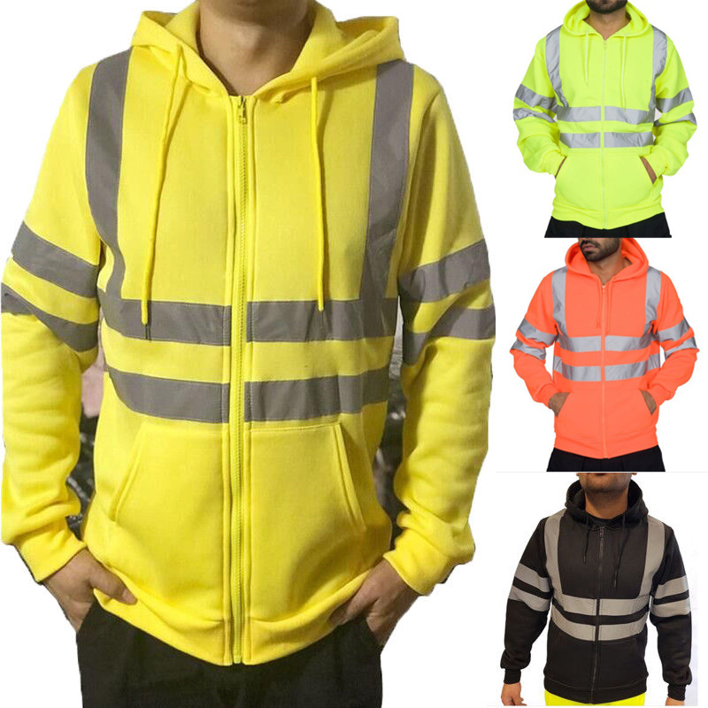 NEW MENS HI-VIS TWO TONE COTTON FLEECY FLURO ORANGE WORK YELLOW SWEAT JUMPER TOP
