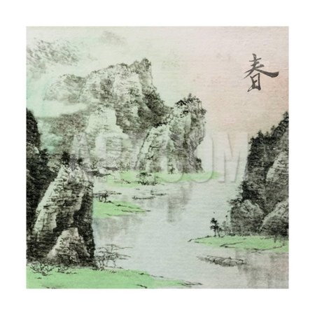 Chinese Glass Inside Painting (Chinese Traditional Ink Painting, Landscape of Season, Spring. Print Wall Art By elwynn )