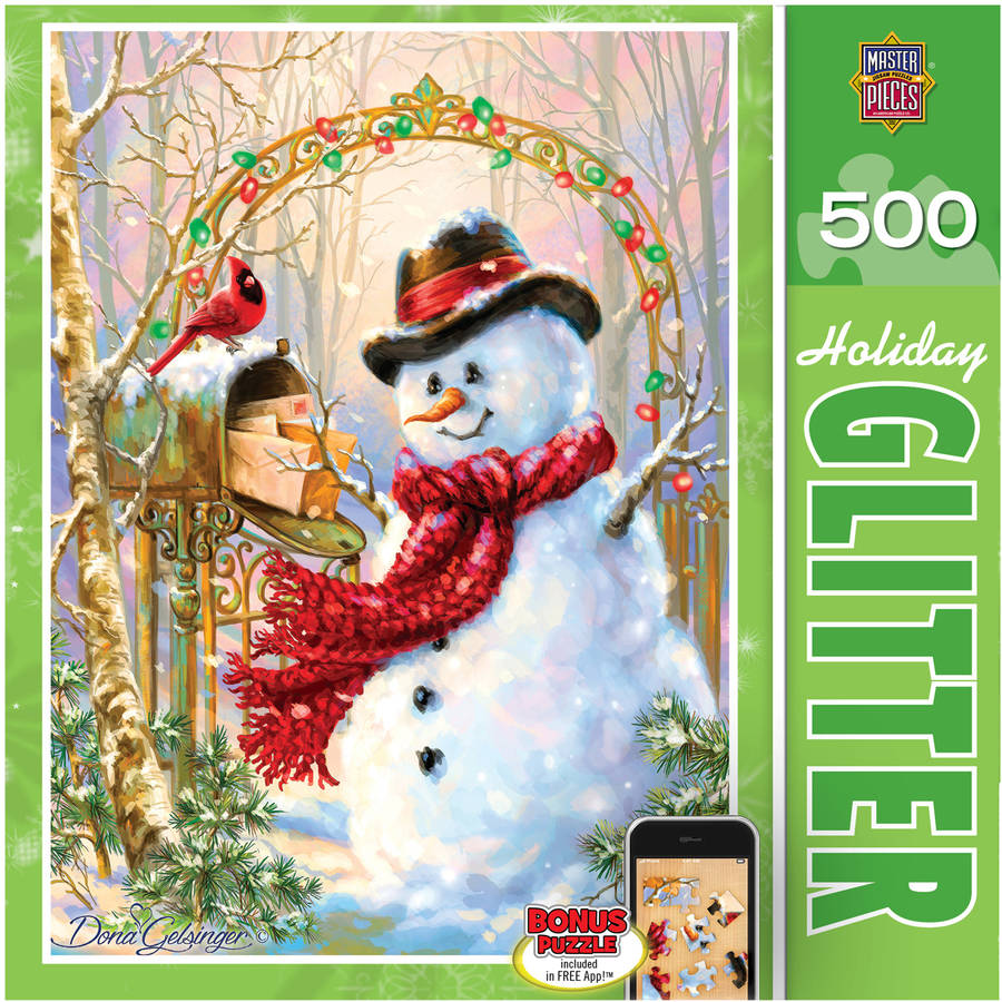 Holiday Glitter Puzzle, Letters to Frosty, 500 Pieces by Masterpieces Puzzles