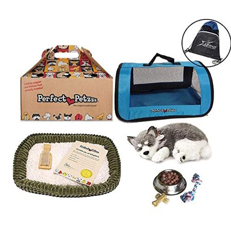 Perfect Petzzz Husky Breathing Pet, Blue Tote for Plush Breathing Pet, Dog Food, Treats, Chew Toy and Includes Myriads Drawstring Bag