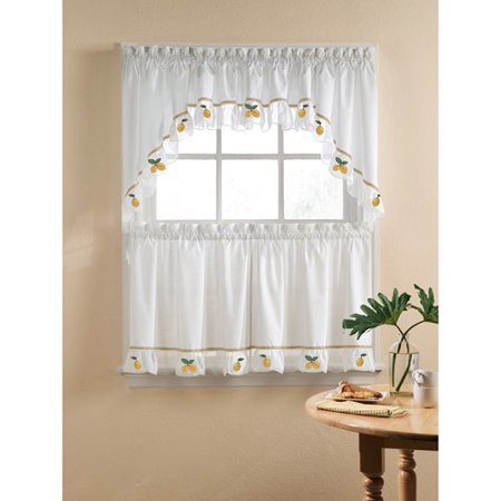 Lemons kitchen swag tier or valance yellow - Kitchen curtains walmart ...