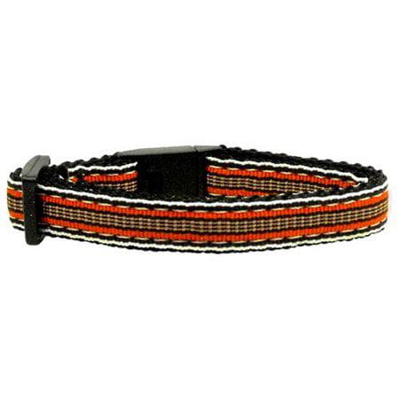 Preppy Stripes Nylon Ribbon Collars Orange Khaki Cat