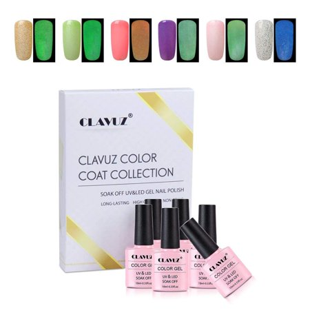CLAVUZ Gel Nail Polish,6PCS Glow In the Dark Gel Nail Lacquer Set Soak Off UV Led Nice Shining Manicure Luminous Nail DIY Art Decoration Kit 10ML (Homemade Glow In The Dark Nail Polish)