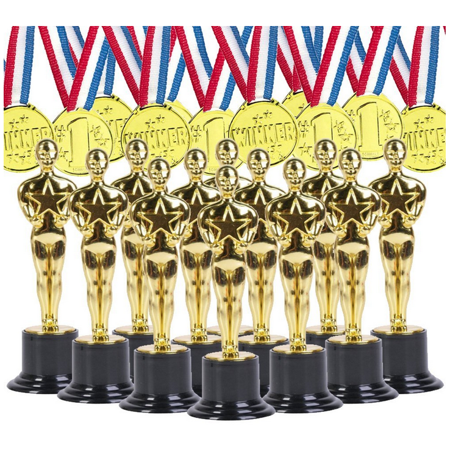 Gold Award Trophies And Gold Medals for Award Ceremonies, Party Favors, 12 Count