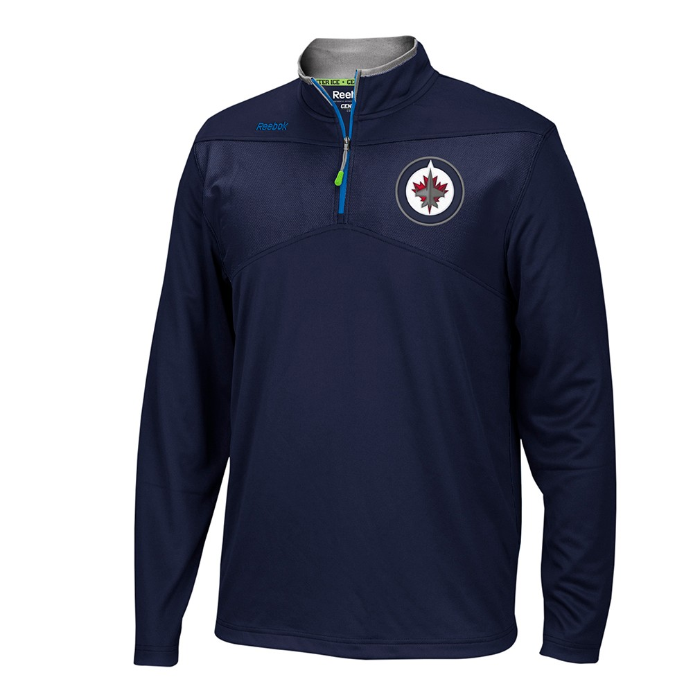 Winnipeg Jets NHL Reebok Navy Blue Center Ice 1 4 Zip Speedwick Performance Pullover Jacket For Men by Reebok