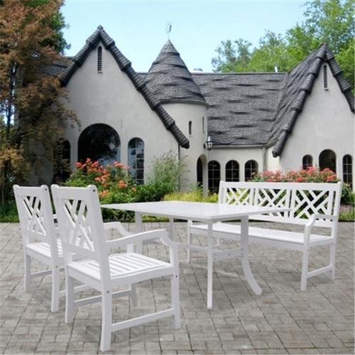 Vifah Bradley Outdoor Wood Dining Set with Rectangular Table, Bench and Arm Chair