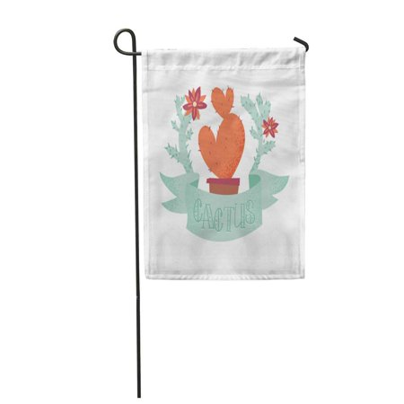 SIDONKU Cute Heart Shaped Cactus Prickly Pear in Pot Inside The Wreath of Succulents Flowers Garden Flag Decorative Flag House Banner 28x40 inch