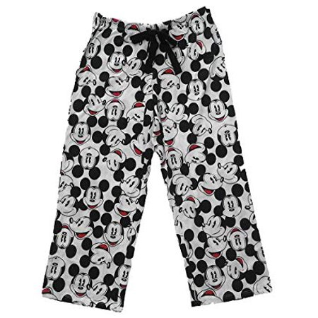 [P] Disney Womens' Mickey Mouse Faces Print Pajama Capri Pants - Black & White - Mickey Mouse Pajamas