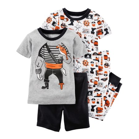 Carter's Baby Boys' 4-Piece Snug Fit Cotton Pajama Set, Pirate, 12 Months