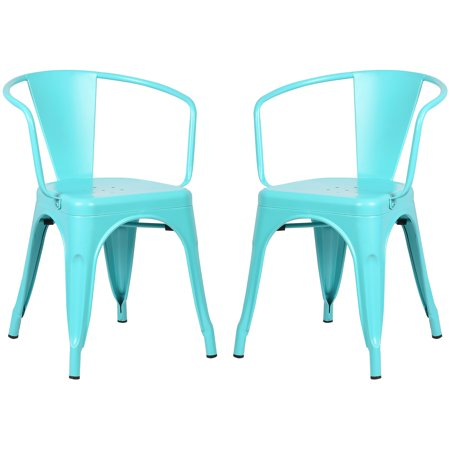 Poly and Bark Trattoria Arm Chair in Aqua (Set of 2)