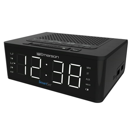 Emerson SmartSet Alarm Clock Radio with Bluetooth Speaker & Charging Station,