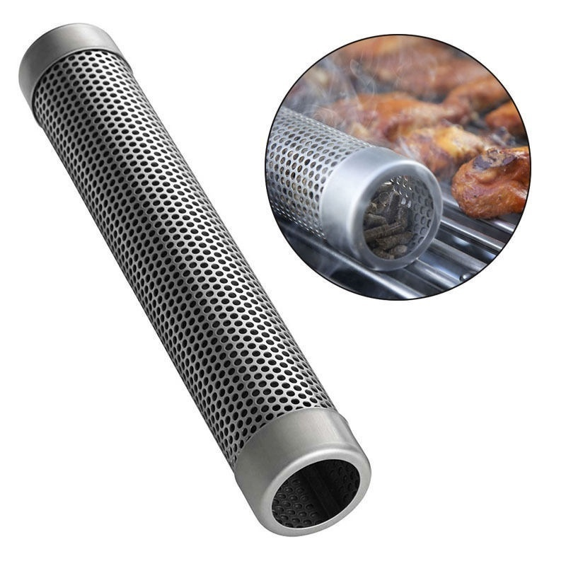 Grilling Tube Stainless Steel Square BBQ Smoker Tube Wood Smoke Pipe Charcoal Gas Grilling Set Outdoor Smoker 12in