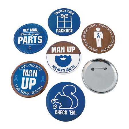 Fun Express - Men's Health Awareness Buttons - Jewelry - Pins - Novelty Buttons - 24 Pieces (Photo Button Pins)