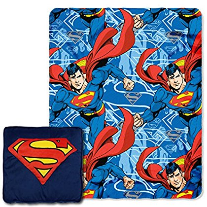 Warner Brothers Superman, 'Metropolis Shield' 3D 14' by 14' Pillow and 40' by 50' Fleece Throw in Pocket Set by The Northwest Company ()