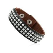 "Men's Black Leather Studded Cuff Bracelet (21mm) - 8"""